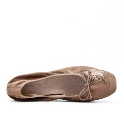 Taupe ballerina with star pattern in large size