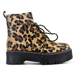 Bottine léopard à lacet