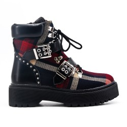 Red ankle boot with check pattern
