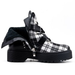 Black ankle boot with check pattern