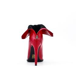 Bota rojo de piel imitación con tacón