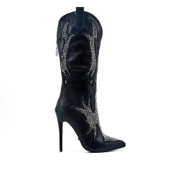 Black boot with rhinestones and high heels