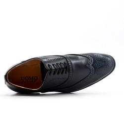 Black faux leather lace-up brogue