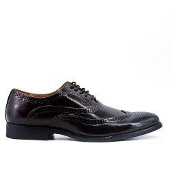 Brown faux leather lace-up brogue