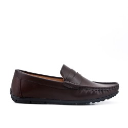 Brown men's loafer with bridle