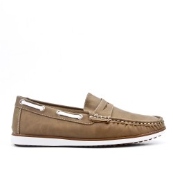 Tobacco leather imitation leather moccasin