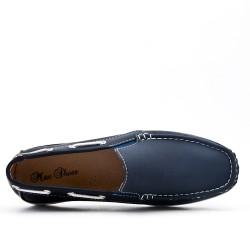 Blue moccasin imitation leather