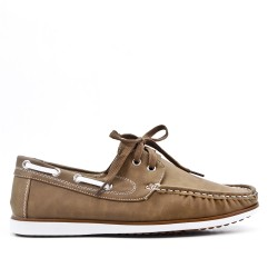 Beige moccasin in faux leather