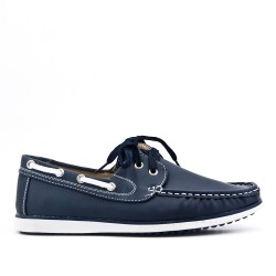 Blue moccasin imitation leather