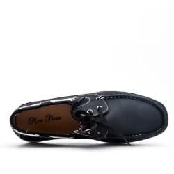 Mocassin noire en simili cuir avec lacet