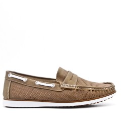 Beige leather imitation leather moccasin