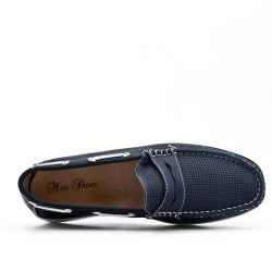 Blue imitation leather moccasin with flange pattern