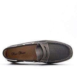 Gray imitation leather loafer with flange pattern