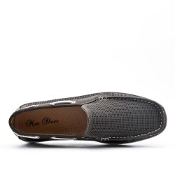 Gray imitation leather moccasin