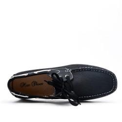 Mocassin noire en simili cuir perforé avec lacet