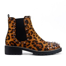Leopard leather ankle boot with studs on the toe
