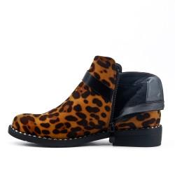 Botín de leopardo en gamuza sintética