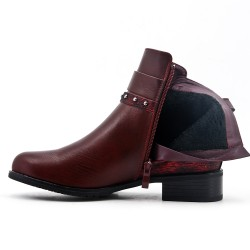 Red wine ankle boot