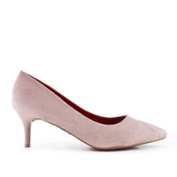 Pink suede leather pumps with heels