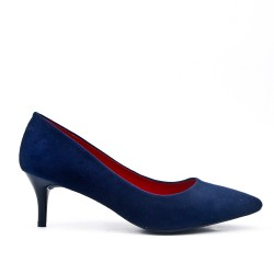 Blue suede leather pumps with heels