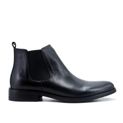 Black leather ankle boot with elastic inset