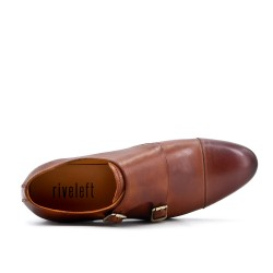 Buckled leather camel derby