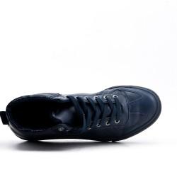 Basket montante bleu en simili cuir à lacet