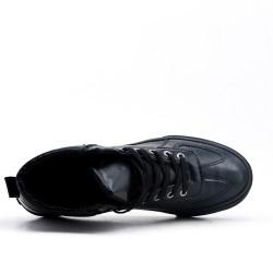 Basket montante noire en simili cuir à lacet