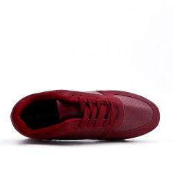 Basket rouge bi-matières à lacet