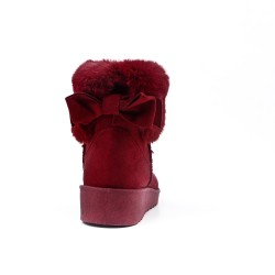Red wine fur boot with bow at the back