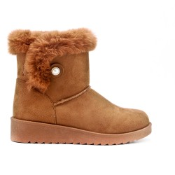 Camel beaded ankle boot