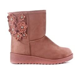 Bottine fourrée rose à fleurs