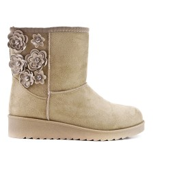 Beige cropped bootie with flowers
