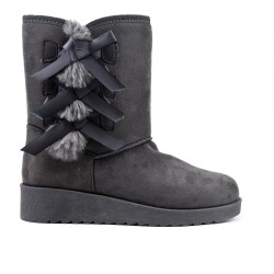 Gray ankle boot on the side