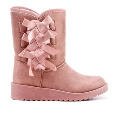 Pink ankle boot on the side