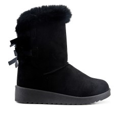 Black fur boot with bow at the back