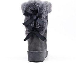 Gray fur boot with bow at the back
