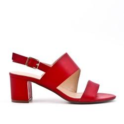 Sandale rouge en simili cuir à talon