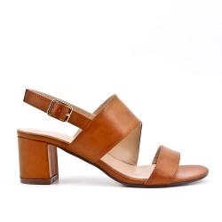 Blue imitation leather sandal with heel