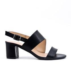 Black imitation leather sandal with heel