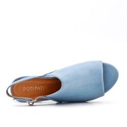 Sandale bleu en simili cuir à talon