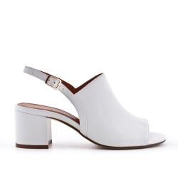 White imitation leather sandal with heel