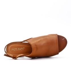 Camel imitation leather sandal with heel