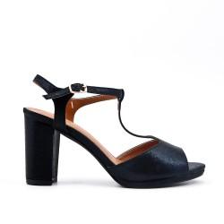 Sandale brillante noire à talon