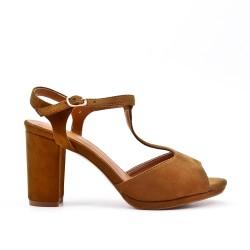Sandale camel en simili daim