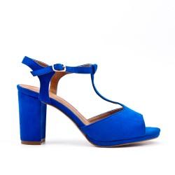 Blue faux suede sandals