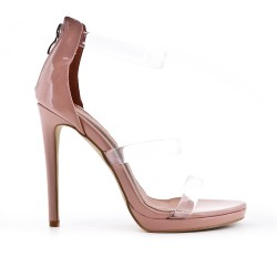 Sandale rose avec brides transparentes