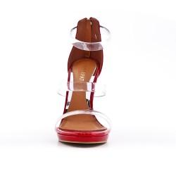 Sandale rouge avec brides transparentes