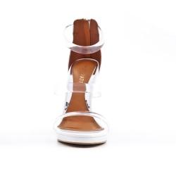 Sandale blanche avec brides transparentes