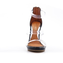 Black sandal with transparent straps